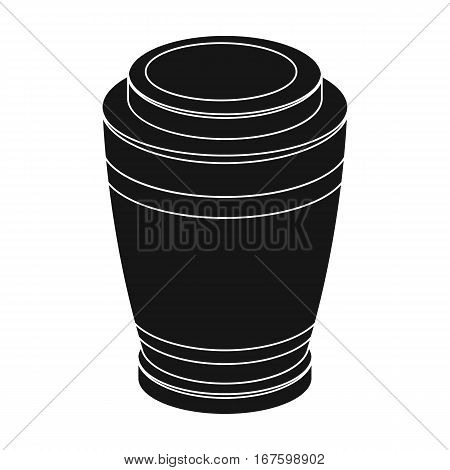 Funeral urns icon in black design isolated on white background. Funeral ceremony symbol stock vector illustration. - stock vector