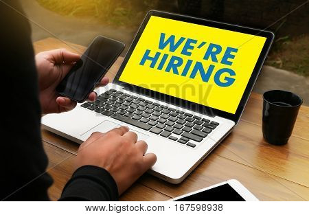 We're Hiring   Business Team And Group Of People Message Talking Communication