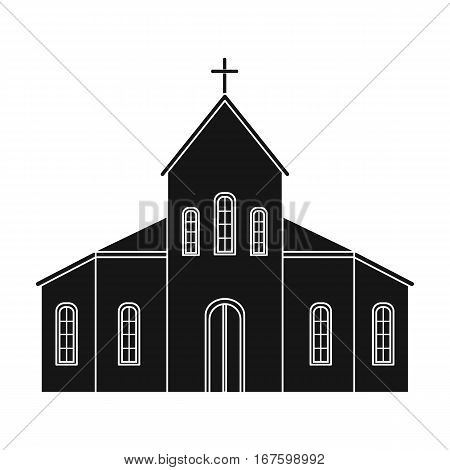 Church icon in black design isolated on white background. Funeral ceremony symbol stock vector illustration. - stock vector