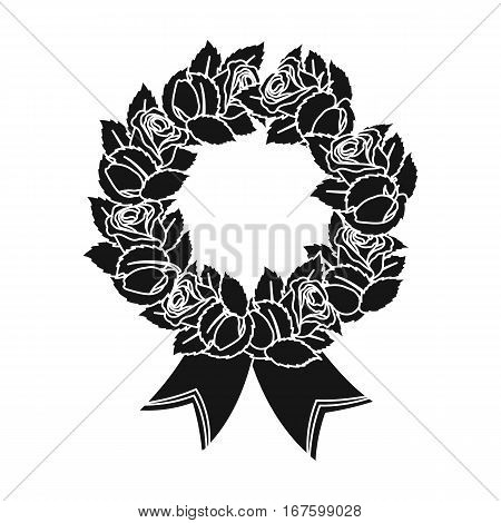 Funeral wreath icon in black design isolated on white background. Funeral ceremony symbol stock vector illustration. - stock vector