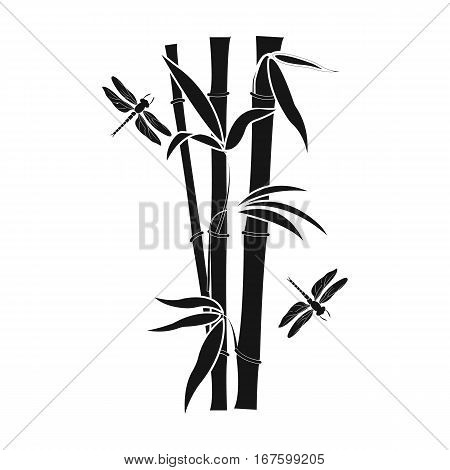 Bamboo icon in black style isolated on white background. Japan symbol vector illustration. - stock vector