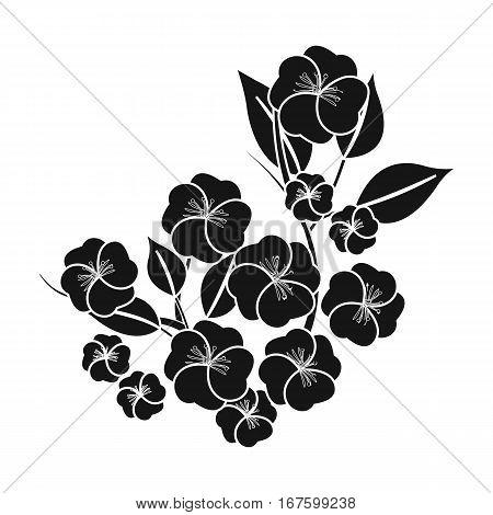 Sakura flowers icon in black style isolated on white background. Japan symbol vector illustration. - stock vector