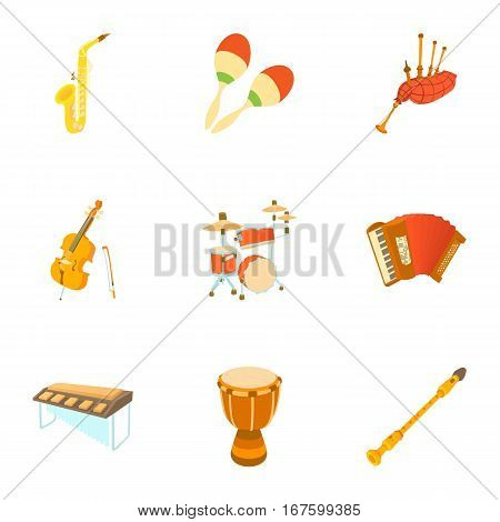 Musical devices icons set. Cartoon illustration of 9 musical device vector icons for web