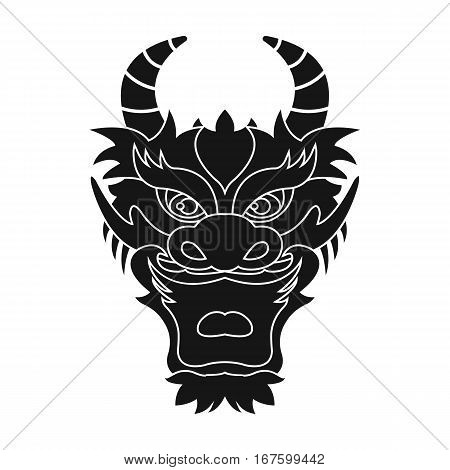 Dragon icon in black style isolated on white background. Japan symbol vector illustration. - stock vector