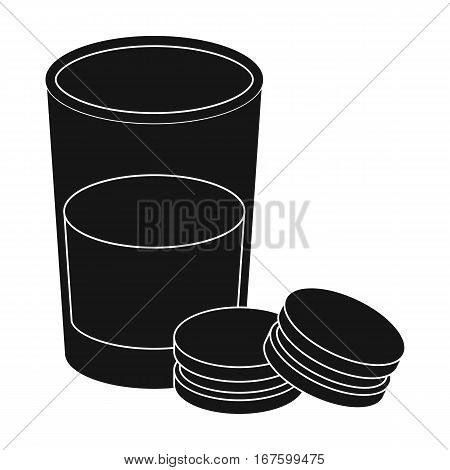 Glass of milk with cookies icon in black design isolated on white background. Sleep and rest symbol stock vector illustration. - stock vector