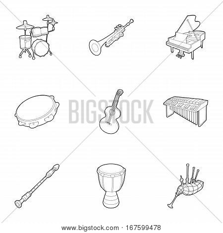Musical devices icons set. Outline illustration of 9 musical device vector icons for web