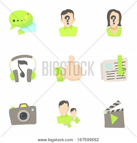 Friendship and communication in network icons set. Cartoon illustration of 9 friendship and communication in network vector icons for web
