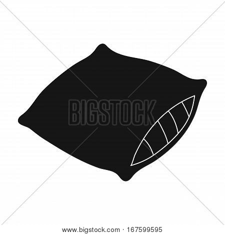 Pillow icon in black design isolated on white background. Sleep and rest symbol stock vector illustration. - stock vector