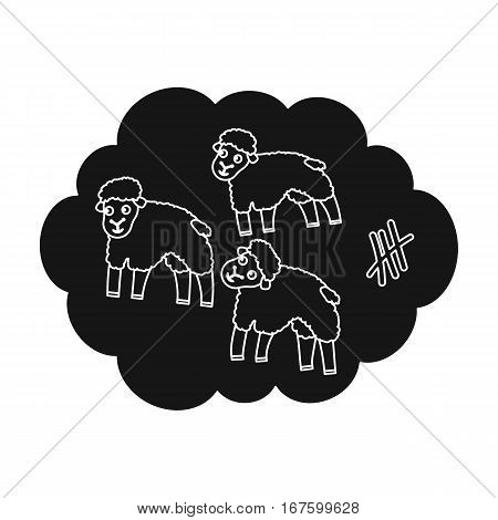 Count sheep icon in black design isolated on white background. Sleep and rest symbol stock vector illustration. - stock vector