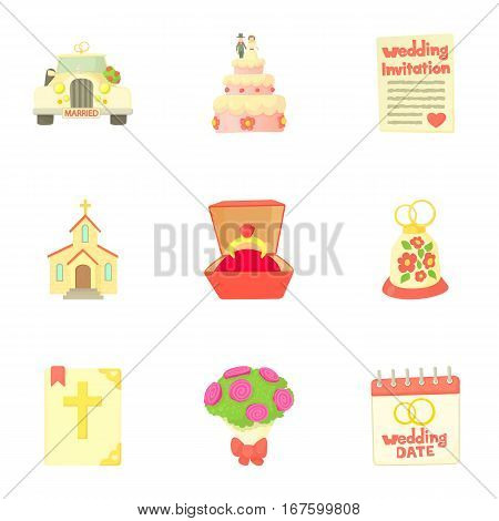 Marriage ceremony icons set. Cartoon illustration of 9 marriage ceremony vector icons for web