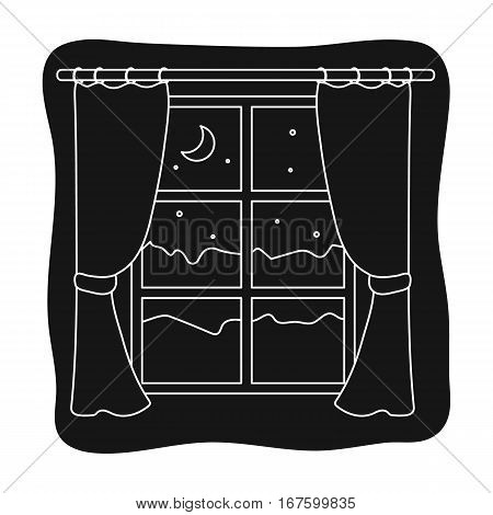 Night out the window icon in black design isolated on white background. Sleep and rest symbol stock vector illustration. - stock vector