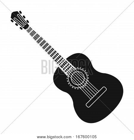 Spanish acoustic guitar icon in black design isolated on white background. Spain country symbol stock vector illustration. - stock vector