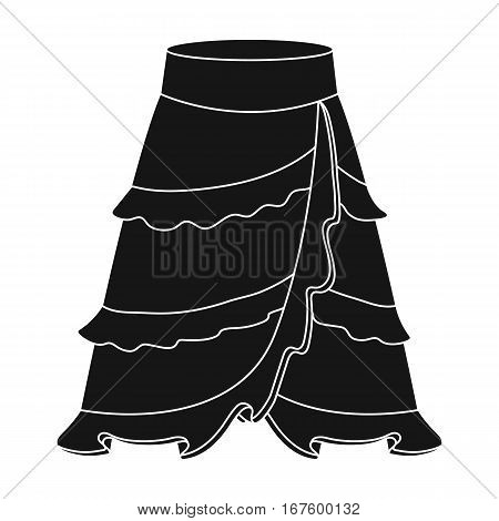 Flamenco skirt icon in black design isolated on white background. Spain country symbol stock vector illustration. - stock vector
