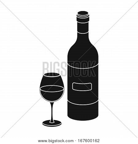 Spanish wine bottle with glass icon in black design isolated on white background. Spain country symbol stock vector illustration. - stock vector