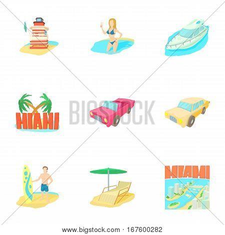 Miami icons set. Cartoon illustration of 9 Miami vector icons for web
