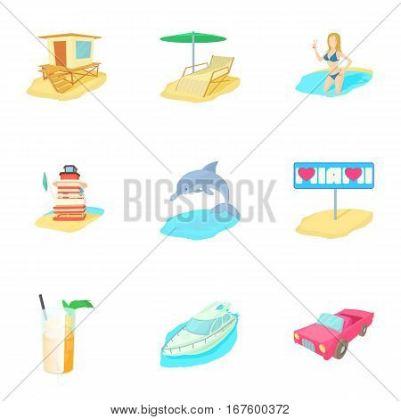 Holiday in Miami icons set. Cartoon illustration of 9 holiday in Miami vector icons for web