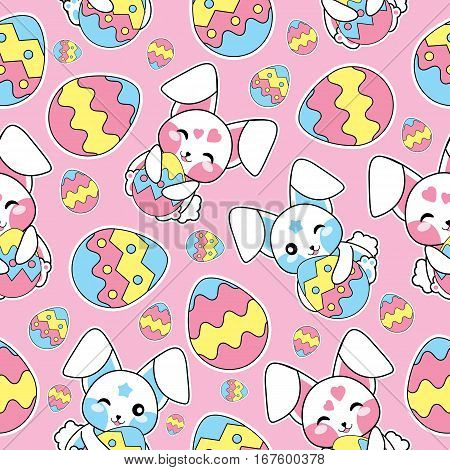 Easter seamless pattern with cute bunny, and colorful eggs on pink background suitable for Easter wallpaper, fabric, and scrap paper
