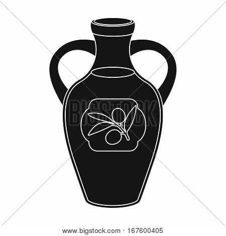 Bottle of olive oil icon in black design isolated on white background. Spain country symbol stock vector illustration. - stock vector