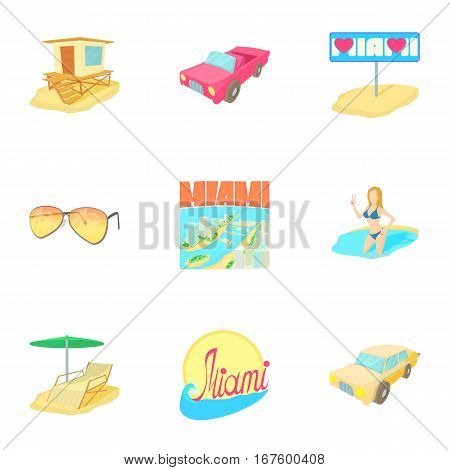 Attractions of Miami icons set. Cartoon illustration of 9 attractions of Miami vector icons for web