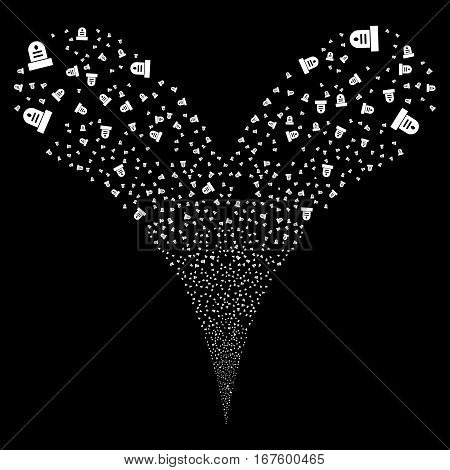 Grave fireworks stream. Vector illustration style is flat white iconic symbols on a black background. Object double fountain made from random design elements.