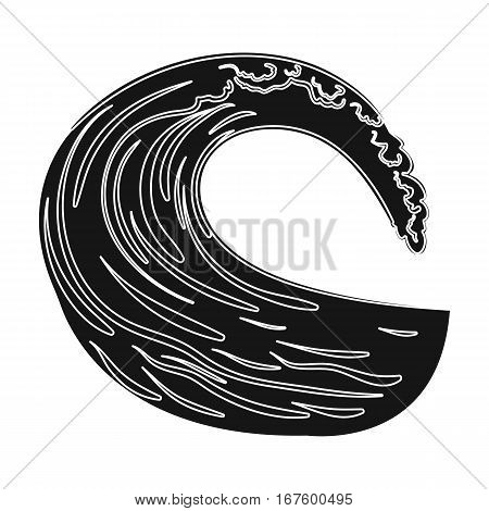 Wave icon in black design isolated on white background. Surfing symbol stock vector illustration. - stock vector