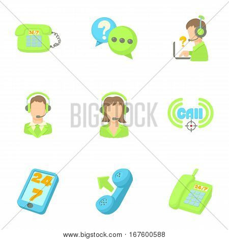 Online support icons set. Cartoon illustration of 9 online support vector icons for web