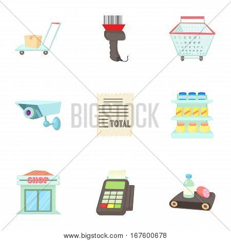 Purchase in shop icons set. Cartoon illustration of 9 purchase in shop vector icons for web