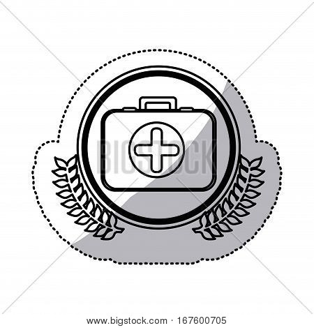 monochrome sticker with first aid kit with symbol cross in circle with olive branches vector illustration