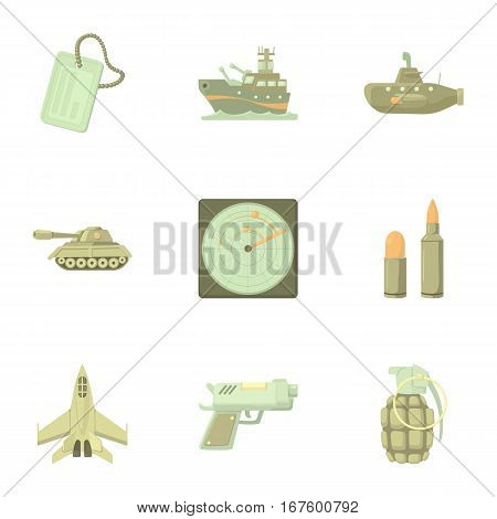 Weaponry icons set. Cartoon illustration of 9 weaponry vector icons for web