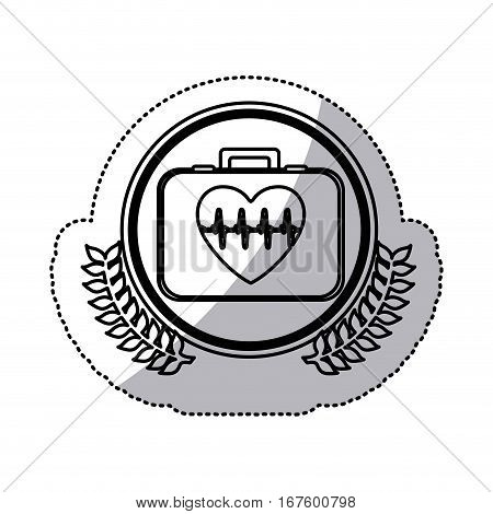 monochrome sticker with first aid kit with symbol line of vital sign in heart inside circle with olive branches vector illustration