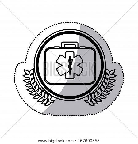 monochrome sticker with first aid kit with symbol star of life in circle with olive branches vector illustration