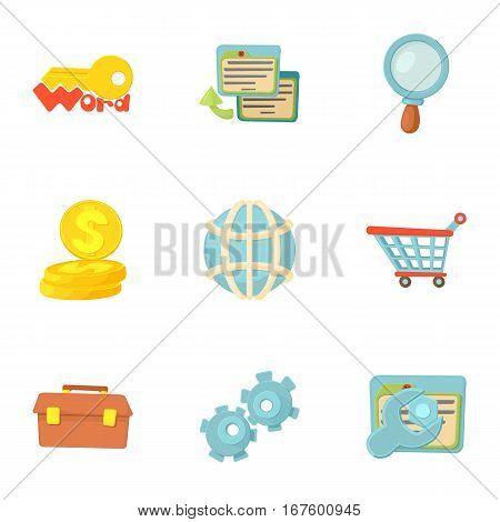 SEO icons set. Cartoon illustration of 9 SEO vector icons for web
