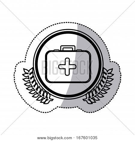monochrome sticker with circle with first aid kit with symbol of cross with olive branches vector illustration
