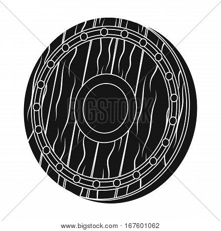 Viking shield icon in black design isolated on white background. Vikings symbol stock vector illustration. - stock vector