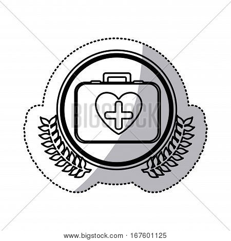 monochrome sticker with firts aid kit with symbol cross in heart in circle with olive branches vector illustration