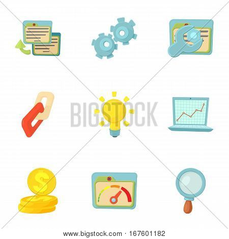SEO optimization icons set. Cartoon illustration of 9 SEO optimization vector icons for web