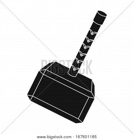 Viking battle hammer icon in black design isolated on white background. Vikings symbol stock vector illustration. - stock vector