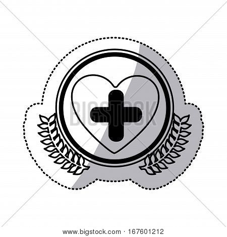 monochrome sticker with circle with olive branches and symbol cross in heart vector illustration