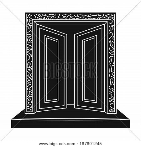 Gates to Valhalla icon in black design isolated on white background. Vikings symbol stock vector illustration. - stock vector