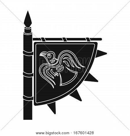 Viking s flag icon in black design isolated on white background. Vikings symbol stock vector illustration. - stock vector