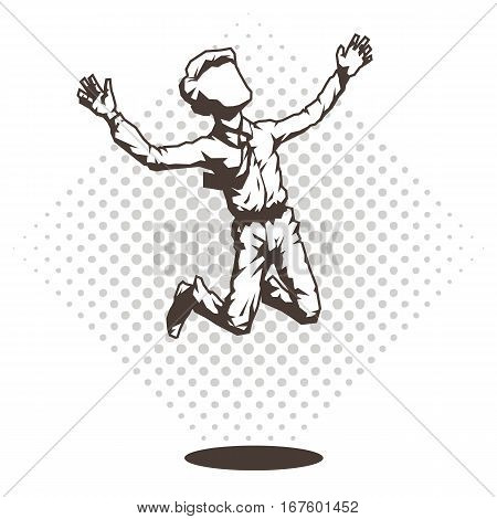 A man in a shirt and tie, soars up. Vector illustration.