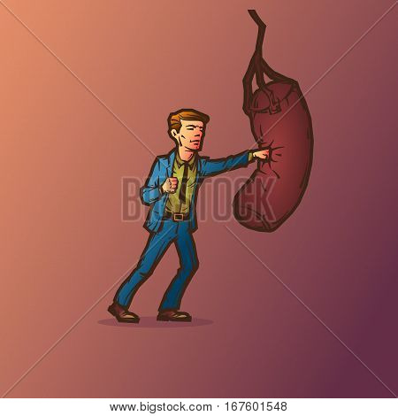 A man in a suit has a punching bag. Vector illustration.