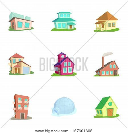 Building icons set. Cartoon illustration of 9 building vector icons for web