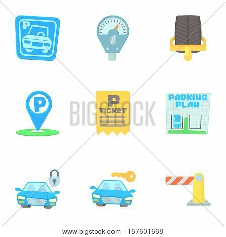 Parking area icons set. Cartoon illustration of 9 parking area vector icons for web