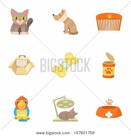 Veterinary icons set. Cartoon illustration of 9 veterinary vector icons for web