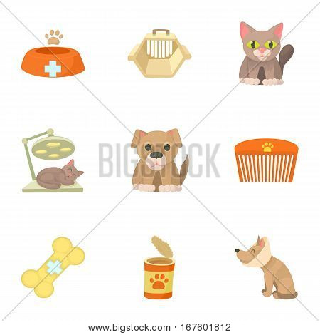 Veterinary things icons set. Cartoon illustration of 9 veterinary things vector icons for web