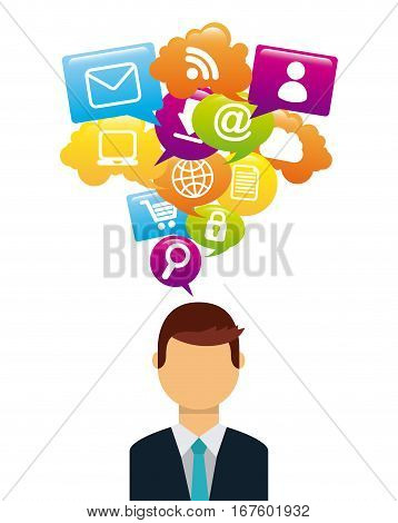 man cartoon with social media icons around over white background. colorful design. vector illustration