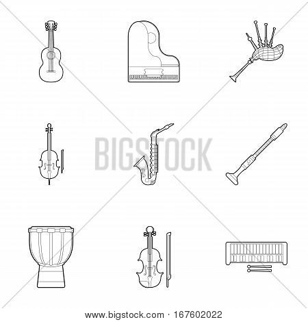 Device for music icons set. Outline illustration of 9 device for music vector icons for web