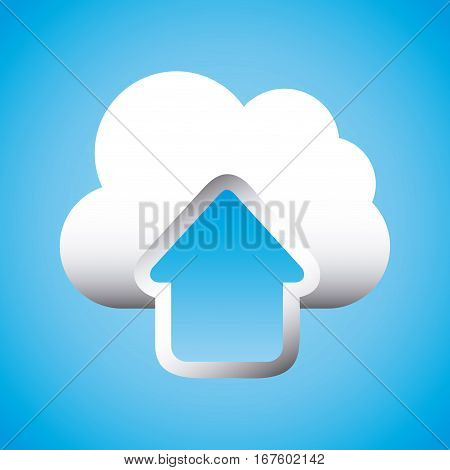 upload arrow and cloud icon over blue background. colorful design. vector illustration