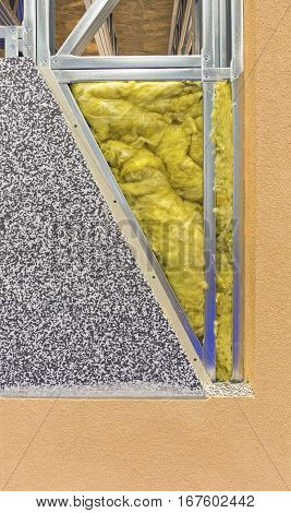 Mineral Wool Insulation Layer in House Wall